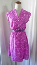NW Purple LILAC Heels Vintage BELTED Retro Housewife COLLAR BUTTON Shirt Dress S