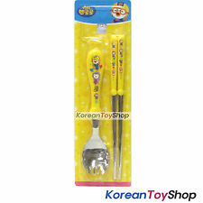 Pororo Basic Stainless Steel Spoon Chopsticks Set Yellow BPA Free Made in Korea