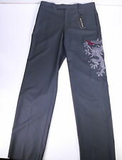NWT New * MASATOMO * Japan Gray Flat Front Wool-Cashmere DRAGON Dress Pants 36