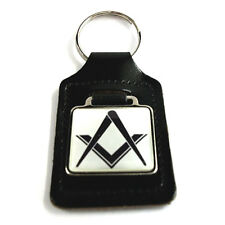 Masonic Freemason Key Ring - White, on black leather key ring fob