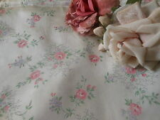 Vintage Sweetest  Shabby Cottage Pink Roses Satiny Fabric ~ dolls projects