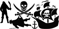 PIRATE SET Vinyl Wall Art Decals Boys Children Play  Room  Decor Lettering Words