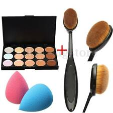 15 Colors Makeup Contour Concealer Face Cream Palette Sponge Puff Powder Brush