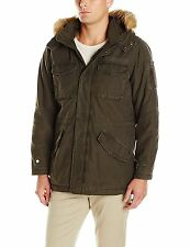 GUESS Mens Military Parka Jacket Hooded Thick Cotton Quilted Inside Olive XL NWT