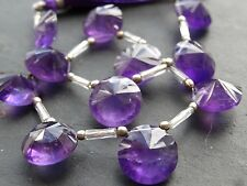 HAND FACETED AMETHYST DISCS, approx 12mm, 11 top drilled beads