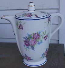 "ANTIQUE LIMOGES FRANCE PINK ROSES White & Gold CHOCOLATE or TEA POT 9"" TALL"