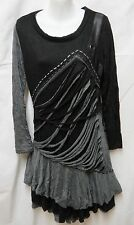 Bella Carra Black Gray Dress Steampunk Goth Tattered Crinkled Stretch M