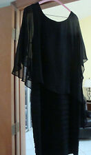 Adrianna Papell Black Asymetrical Chiffon Overlay Pleat Sheath Dress Size 14