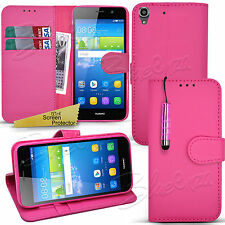 For Huawei Y6 - Wallet Leather Case Flip Book Cover + Screen Protector + Stylus