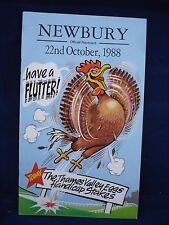 Horse racing - Race Card - Newbury - 22nd October 1988 - Thames Valley Eggs