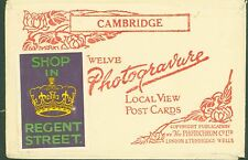 CAMBRIDGE UK PHOTOCHROM ORIGINAL POSTCARD SLEEVE ONLY~SHOP IN REGENT ST STICKER