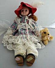 "1989 BRINN'S 16 1/2"" PORCELAIN DOLL ""WINNIE"" WITH GLASSES, HAT, TEDDY BEAR"
