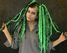 Gothic cyber punk emo pair of green and black  wool hair falls knitted