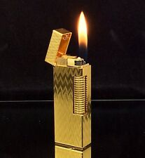 1974 dunhill ROLLAGAS Gold Chevron pattern Lighter - SERVICED & Guaranteed