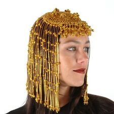 Gold Beaded CLEOPATRA Headpiece wig gypsy flapper egyptian mardi gras showgirl