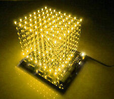 Brand New 3D Lightsquared 8x8x8 Led Cube White LED Yellow Ray DIY Kit New