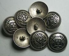 Pack of 8 12mm French Inspired Navy Anchor Pewter Military Style Button 2048