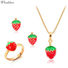 Kids Girl Gold Filled Strawberry Earrings Ring Pendant Necklace Jewellery Sets