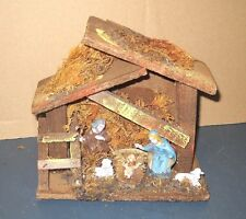 VTG OLD NATIVITY SET WOOD CRECHE STABLE W/ HARD PLASTIC FIGURINES ITALY DISPLAY