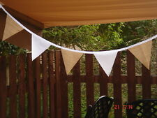 HESSIAN & WHITE BUNTING 150ft  RUSTIC SHABBY CHIC  limited numbers at this price