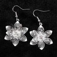 Women Jewelry Silver Zircon Crystal Dangle Ear Stud Earrings New