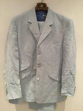 WILLIAM HUNT 2-Piece Single Breasted Mens Sky Blue Suit UK42R