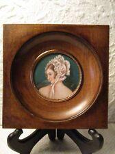 """Ancienne peinture miniature portrait de femme """" Dame aux marguerites """""""