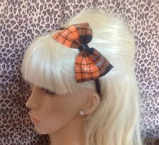 "NEW ORANGE BLACK TARTAN PLAID CHECK FABRIC 5"" SIDE BOW ALICE HAIR HEAD BAND CUTE"