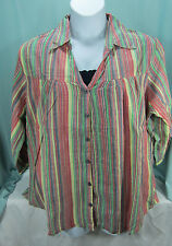 Dress Barn Blouse 2X Top  Navy Cami 2 piece Striped Blue Green Yellow Red NWT