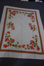 1950's Print Tablecloth- Huge Cosmos-Red,Gold,Green-49x64- STUNNING- SALE