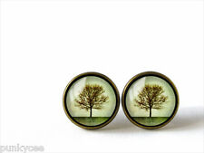 Retro Style Handmade Glass Dome Stud Earrings, Lonely Tree, A-264