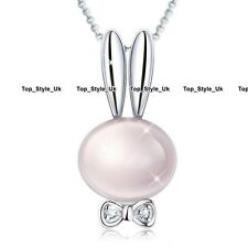 Opal Moonstone Rabbit Bunny Silver Necklace Xmas Gifts for Her Girls Kids Mum O1