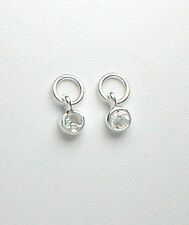 Nail Dangle - Tiny Sterling Silver w/ Clear CZ 4mm