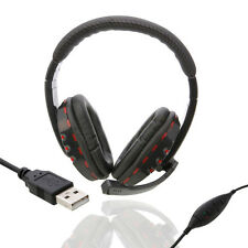 New Black and Red Luxury Leather Headset Headphone + Mic for PS3/PC Game