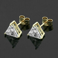 9ct Gold 6mm Triangular CZ Stud Earrings Hand MADE IN UK -Free Box - Anniversary