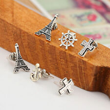 Fashionable Women Pretty Tower Cross Anchor Ear Stud Earrings Jewelry 6pcs Set