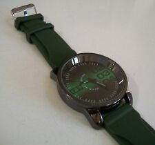 Mens  FB Shaded Dial Black Hematite Finish  Fashion Green Rubber Band Watch
