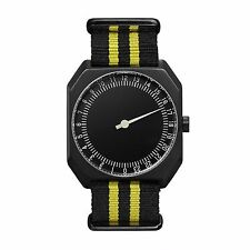 Slow Jo 27 - Swiss Made One-hand 24 Hour Watch - Black/yellow Nylon, Black Case