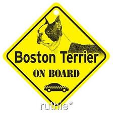 Boston Terrier On Board Dog Window Sign Made in USA