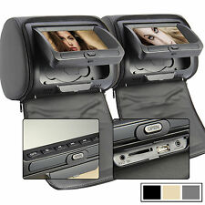 "2x 7"" Monitor Digital Kopfstützen DVD Player Autoradio Set IR FM SD USB GAMES DE"