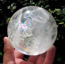 NATURAL RAINBOW CLEAR QUARTZ CRYSTAL SPHERE BALL HEALING GEMSTONE80mm +stand`=