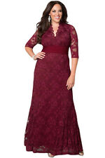 New Stunning Burgundy Floral Lace Plus Size Party Gown Maxi Dress 22 24