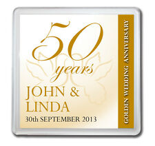 PERSONALISED 50th GOLDEN WEDDING ANNIVERSARY DRINKS COASTER