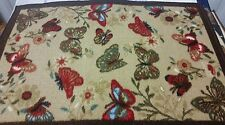 """VERY RARE TEXTILE KITCHEN RUG, (non skid latex back) (20"""" x 30"""") BUTTERFLIES"""
