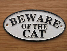 Black & White Cast Iron BEWARE OF THE CAT Sign with 2x screw holes