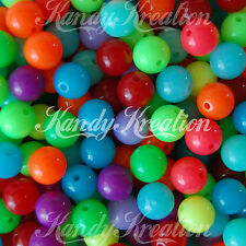 50 Rainbow Jelly 10mm Round Beads for Chunky Kandi Bubblegum Necklaces Gumball
