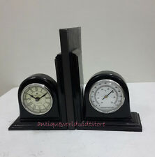 VINTAGE BOOKEND WITH FUNCTIONAL CLOCK AND  DUMMY THERMOMETER REPLICA GIFT