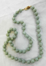 Art Deco Celadon Jade Necklace with 14 carat Gold Clasp c 1920s