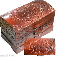 CELTIC PENTAGRAM LEATHER CHEST LINED TAROT BOX Wicca Witch Pagan Goth