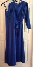 Vintage Cira Royal Blue Nightgown And Robe Peignoir Set Sleeveless Long Small